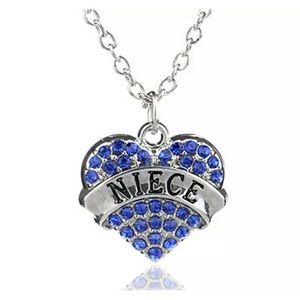 Jewelry - Niece crystal heart charm necklace (adjustable)
